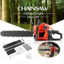 """Coocheer 20"""" Bar 58cc Chainsaw 2-Stroke Gasoline Gas Engine Cutting Wood Machine"""