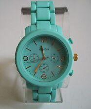 Chunky Mint Green  Mate Finish Geneva Bracelet Fashion Boyfriend Women's Watch