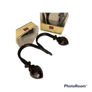 4 Woolrich Metal Curtain Holdback Hook Drapery Tieback Brown 2005 Rustic NOS