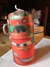 Cars/Saetta McQueen decorato a mano pilastro candela 13x6cm