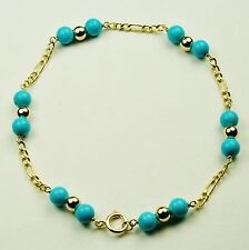 14k solid yell/gold lightweght natural Arizona turquoise bracelet 7 3/4 inches