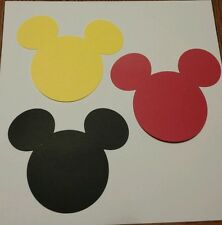 """Mickey Mouse Heads Die Cut outs 6"""" Scrapbooking Set of 12- Made from cardstock"""