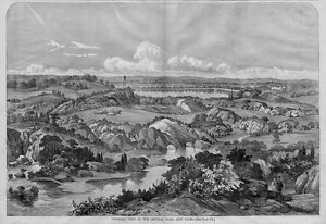 CENTRAL PARK, NEW YORK, 1860 ANTIQUE WOOD-CUT ENGRAVING