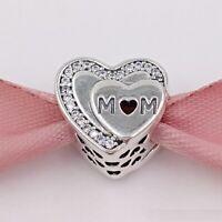 NEW PANDORA SILVER TRIBUTE TO MUM LOVE MOM HEART CHARM 792070CZ S925 ALE
