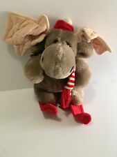 "Heritage Collection Ganzbros Plush Moose on Red Skis 8"" Vintage 1985"