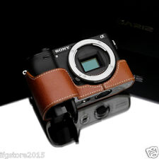 New GARIZ Sony A6300 Leather Half Case Camel For Sony Alpha A6300 ILCE-6300 Case