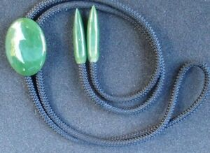 Vintage Dark Green Jade Bolo Tie with Dark Green Jade Tips