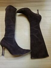 Women's Manolo Blahnik Brown Suede Pull On Boots 38 pre-owned