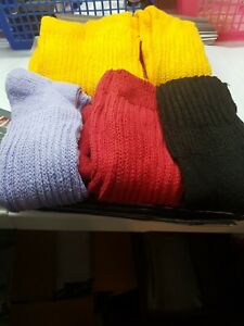 womens slouch socks Lot Of 6 3 yellow one of each red lilac and black