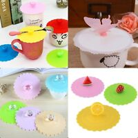 Cute Silicone Leakproof Coffee Mug Suction Lid Cap Airtight Sealed Cup Cover.