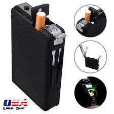 Metal Cigarette Case Box&Automatic Ejection Refillable Butane Lighter Windproof