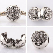 1pcs silver love ball White CZ snap beads fit Charm European Bracelet DIY #B954