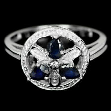 GENUINE BLUE SAPPHIRE PEAR STERLING 925 SILVER FLOWER RING SIZE 6.25