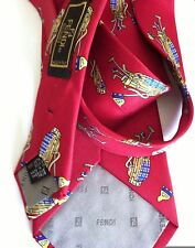 FENDI Unused Vintage Deep Red GOLF CLUBS Motif 100% Silk Necktie Tie ITALY