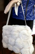 Gorgeous Unique Purse Covered with 100% Genuine White Rex Rabbit Fur Roses