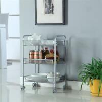 3-Tier Metal Rolling Utility Cart Mobile Storage Organizer Trolley Kitchen Cart
