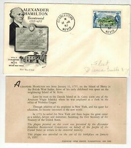 1957 ALEXANDER HAMILTON 200th Anniversary CHARLESTOWN NEVIS BRITISH WEST INDIES