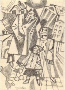"""Anatoliy ChudinovskikhExpressionist Bleistift Papier """"Betrunkener Papa"""" 29x21 cm"""