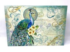 Punch Studio Rectangle Flip Top Nesting Box Peacock Flourish 60671 Small