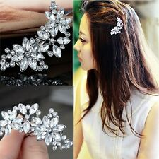 Women Flower Headwear Rhinestone Barrette Crystal Hair Clip Bobby Pin Fashion