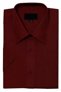 New Men's Regular Fit Short Sleeve Solid Color Dress Shirts - 23 colors