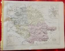 Old Map 1900 France Département Tarn Albi l'Isle Pampelonne Castres Gaillac