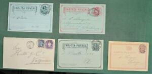 CHILE STAMP COVERS SELECTION OF 5 POSTAL STATIONARY COVERS USED  (K27)
