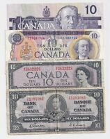 4 x Bank of Canada $10 Notes: 1937, 1954, 1971, & 1989 - Circulated
