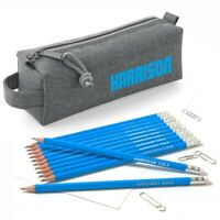 Personalised Marl Grey Pencil Case with12 printed Pencils with Erasers - Ocean
