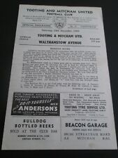Football Programme - Tooting & Mitcham v Walthamstow Avenue 24/12/1960
