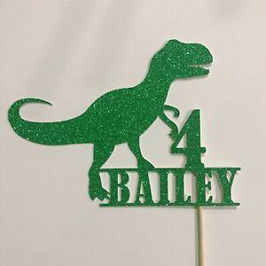 Dinosaur Cake topper - Personalised In Green Glitter