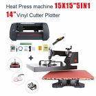 "5in1 Heat Press 15""x15"" + 14"" Vinyl Cutter Plotter Business Printer Sublimation"