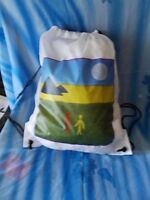 Drawstring Sportpacks with a Image of Peace and Love on it. Sign by Q. Wang