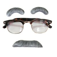 Old Man Gray Eyebrows and Moustache  Glasses Adult Halloween Costume Disguise