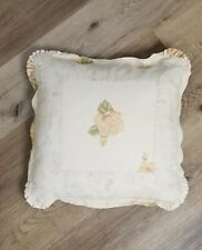 """Rachel Ashwell Shabby Chic Couture Beige Floral Throw Pillow  18"""" × 18"""""""