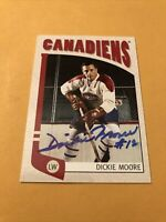 Dickie Moore Signed Montreal Canadiens Card 1a