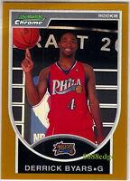 2007-08 BOWMAN CHROME GOLD RC #140: DERRICK BYARS #51/99 REFRACTOR ROOKIE CARD