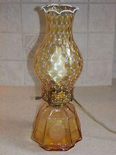"FOSTORIA GLASS AMBER COIN COACH LAMP ELECTRIC 13 1/2"""