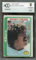 1978 topps #231 RANDY CROSS san francisco 49ers rookie card BGS BCCG 8