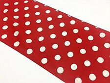 "lovemyfabric Poly Cotton White Polka Dots On Red Table Runner 12""X72"" Inch"