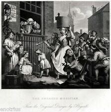 William Hogarth: The enraged musician. Musicista infuriato. Satira. ACCIAIO.1850