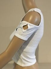 Abercrombie & Fitch HOLLISTER CROP TOP Womens White Cold Shoulder Size XS NWT