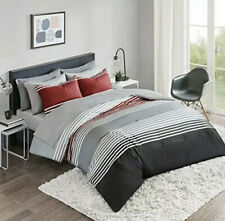 Comfort Spaces Queen Comforter and Sheet Set 9pc Gray, Black, Red, White Stripe