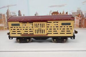Vintage Prewar Lionel Standard Gauge 513 Cream & Maroon Cattle Car W/Nickel Trim