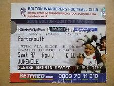Ticket- 2004 BOLTON WANDERERS v PORTSMOUTH, Barclays Premiership, 27 Nov