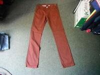 """Denim Co Classic Fit Jeans Waist 30"""" Leg 34"""" Faded Dark Maroon Mens Jeans"""