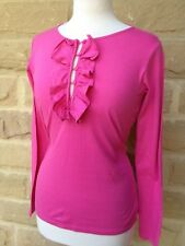 Ladies Ralph Lauren  Bright Pink Frilly Long Sleeve T Shirt/Top/Tee XL/12/14