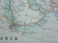 1910 MAP ~ ASIA RUSSIAN EMPIRE CHINESE JAPAN TIBET SIAM MALAY INDIA PERSIA