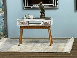 1:16 Dollhouse console table cane rattan spring collection - Lundby scale