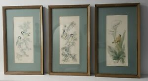 Lot of 3 Vintage Signed Framed Original Bird Watercolor Etchings Carla Hill Art